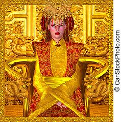 królowa, china., złoty, szanghaj