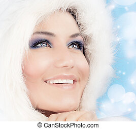królowa, piękny, styl, kobieta, śnieg, boże narodzenie