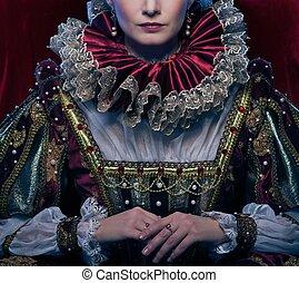 królowa, w, królewski, strój, i, bujny, kołnierz