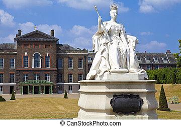 królowa wiktoria, statua, na, kensington pałac, w, londyn