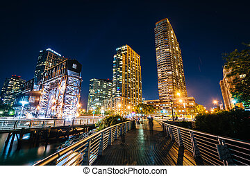 królowe, miasto, kętnar, wyspa, plac, długi, park, stan, pasaż, york., zobaczony, noc, nowy