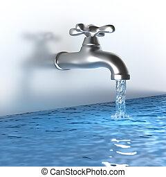 króm, csap, noha, egy, víz, folyik