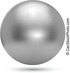 króm, labda, gyakorlatias, vektor, ábra, elszigetelt, white, háttér.