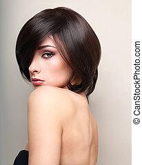krótki, makijaż, włosy, czarna samica, sexy, wzór