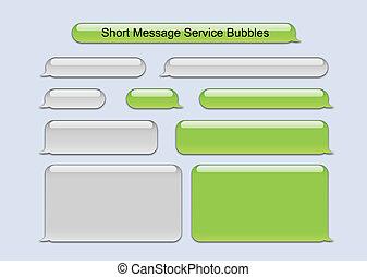 krótki, wiadomość, służba, bańki