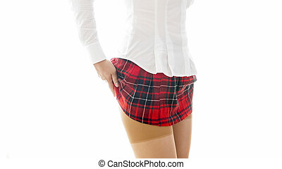 krótki, wizerunek, odizolowany, klatkowy, closeup, podnoszenie, student, sexy, dziewczyna, poła, czerwony