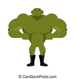 kröte, muscles., mächtig, groß, bodybuilder, amphibie, frog., tier, starke , athlet
