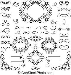 krøllede, sæt formgiv, elements., calligraphic