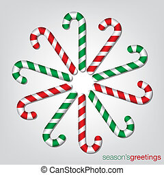 krückstock, format., zuckerl, vektor, weihnachtskarte