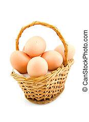 krückstock, korb, mit, huhn eier