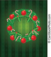 krückstock, kranz, abbildung, zuckerl, verzierungen, weihnachten
