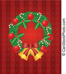 krückstock, kranz, abbildung, zuckerl, verzierungen, weihnachtsglocken