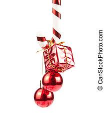 krückstock, verzierungen, christmass, zuckerl, hängender