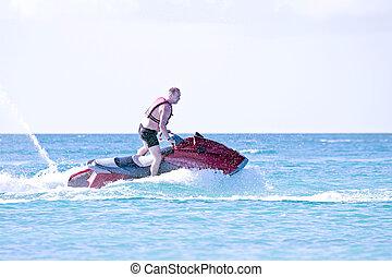 krążąc po morzach, gagat, młody, morze, karaibski, facet, narta