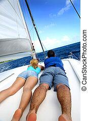 krążąc po morzach, odprężając, nawigacja, para, znowu, łódka
