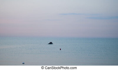 krążąc po morzach, sea., video, mocno, ruch, łódka, ...