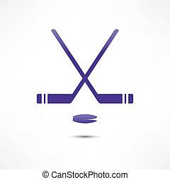 krążek, hokejowa pałka, ikona