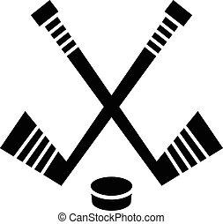 &, krążek, wektor, projektować, hokejowa pałka