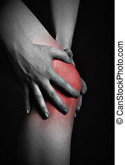 kręgarz, kolor, knee., czarnoskóry, masaż, chory, kolano, ból, czerwony