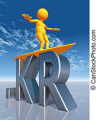 KR Top Level Domain - Computer generated 3D illustration...