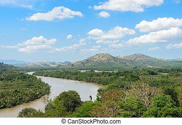 Kra Isthmus, Kra Buri River forming a natural boundary ...