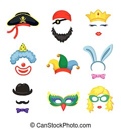 kraam, kroon, bril, partij hoeden, -, jarig, set, foto
