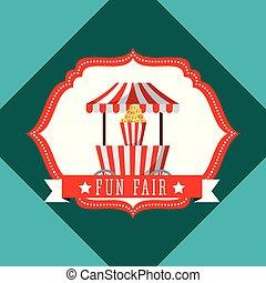 kraam, popcorn, carnaval, pretmarkt, retro, etiket