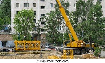kraan, bouwsector, door, cranmobile, de tijdspanne van de...
