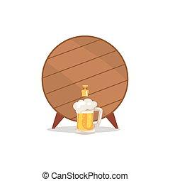 kraan, houten, mok, bier, vector, vat