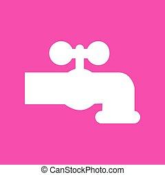 kraan, illustration., meldingsbord, water, achtergrond., witte , magenta, pictogram