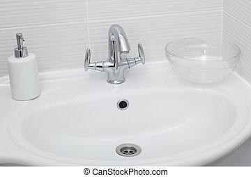 kraan, in, een, moderne, badkamer