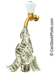 kraan, met, dollars, vloeiend, uit, van,...