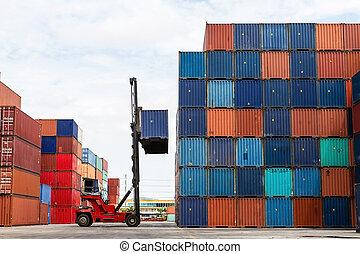 kraan, opheffen, container, in, werf