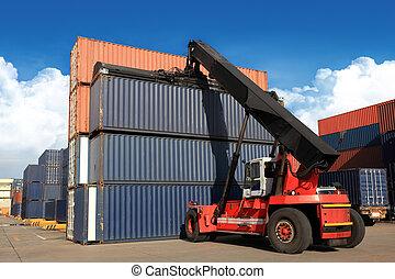 kraan, opheffen, container