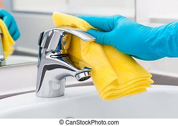 kraan, poetsen