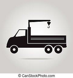 kraan, vector, vrachtwagen, illustratie