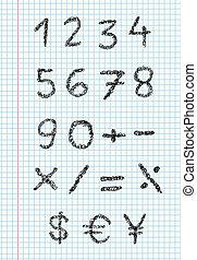 krabbelen, getallen, op, squared, papier