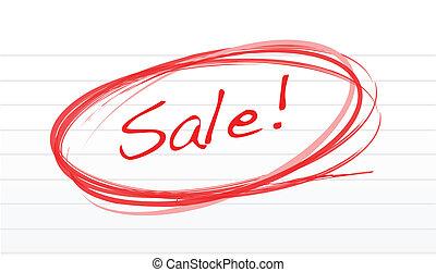 krabbelen, notepad, woord, verkoop