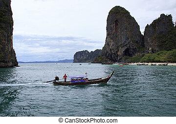 KRABI, THAILAND - APRIL16 , 2013: andaman sea boats taking group