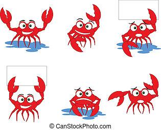 kraby, zabawny, rysunek, czerwony, zbiór