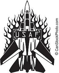kracht, -, ons, lucht, militair, design.