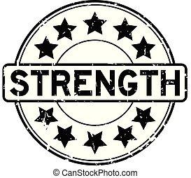 kracht, woord, postzegel, rubber, zwarte achtergrond, zeehondje, grunge, witte , ster, ronde, pictogram