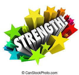 kracht, woord, vaardigheid, voordeel, concurrerend, sterretjes, sterke