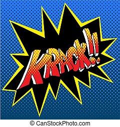 krack, libro comic, suono, effetto, parola