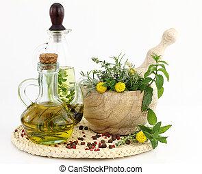 kraeuter, flaschen, moerser, stößel, olivenöl