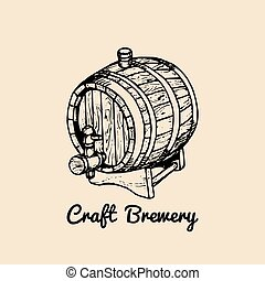 Kraft beer barrel logo. Old brewery icon, retro sign. Hand sketched keg illustration. Vector lager, ale label or badge.