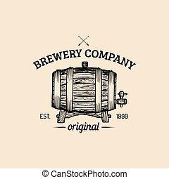 Kraft beer barrel logo. Vector vintage homebrewing label. Sketched lager, ale keg illustration for restaurant, bar, pub menu