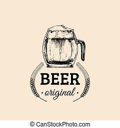 Kraft beer mug logo. Lager cup retro sign. Hand sketched ale glass illustration. Vector vintage homebrewing label, badge.