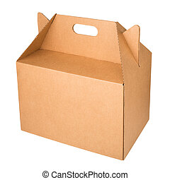 Kraft corrugated cardboard box isolated on a white background