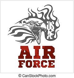 kraft, illustration., -, os, luft, vektor, militær, design.